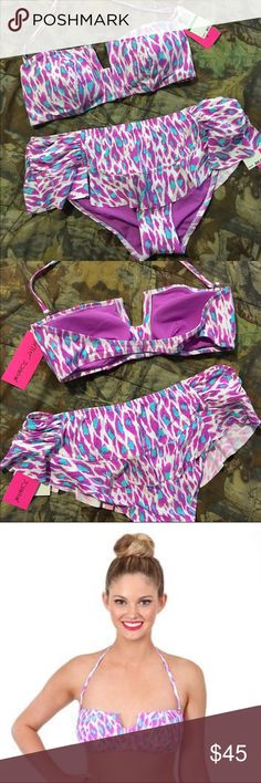 Betsey Johnson swim suit 'she's my everything' Betsey Johnson two piece swim suit. Purple and blue leopard heart print.  Bandeau top with removable strap. Ruffled skirt bottoms. Both bottoms and top size large. New with tags. Betsey Johnson Swim Bikinis