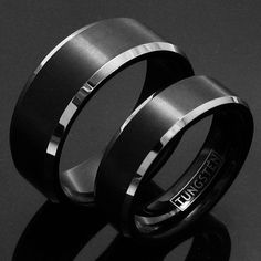 8mm ELEGANT AND MODERN BLACK TUNGSTEN RING IN SATIN BRUSHED FINISH WITH BRILLIANT CHAMFERED EDGES. FOR MEN AND WOMEN. COUPLE RING