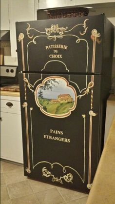 here's a way to fix up your fridge mom Refinished refrigerator-EllieMAC Designs Refrigerator Makeover, Paint Refrigerator, Painted Fridge, Recycled Furniture, Painted Furniture, Painted Dressers, Furniture Makeover, Diy Furniture, Painting Appliances