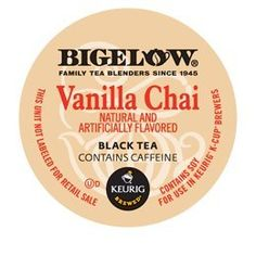 Bigelow Vanilla Chai Tea K-Cups for Keurig Brewers 24 Count is a bold, new way to enjoy Chai. Sip and embrace the enchanting flavors of creamy vanilla and exotic spices that are sweet and spicy all at the same time.