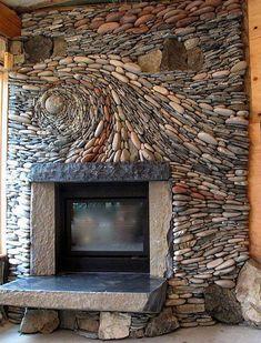 Piedras rodeando el hogar a leña