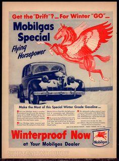 Discreet Original Print Ad 1943 Mobilgas Mobiloil Right Son Change For Summer Horse Advertising-print