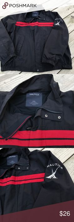 Nautica Men's 2XL Lightweight Jacket Like New Excellent condition-Like New - blue and red. Great piping around this zipper with that blue and red band. Interior pocket and exterior Nautica Jackets & Coats Lightweight & Shirt Jackets