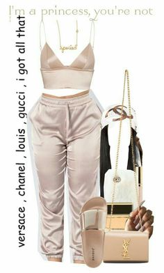 A fashion look from August 2017 featuring silk shirt, flat shoes and yves saint laurent bags. Browse and shop related looks. Swag Outfits For Girls, Boujee Outfits, Cute Swag Outfits, Teen Fashion Outfits, Teenager Outfits, Dope Outfits, Polyvore Outfits, Trendy Outfits, Woman Outfits