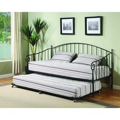 @Overstock - This tubular metal day bed is finished in beautiful black color. This bed includes 7 metal slats to be used as a mattress platform and is tested to hold up to 500 pounds.http://www.overstock.com/Home-Garden/K-B-BT01-Black-Finish-Day-Bed/7613104/product.html?CID=214117 $244.99