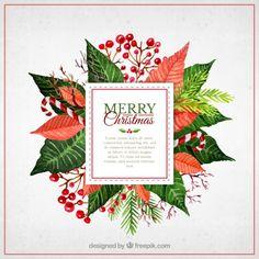 Акварель Рождество цветы этикетка Бесплатные векторы