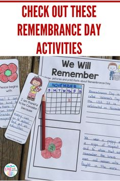 Remembrance Day in Canada Remembrance Day Activities, Veterans Day Activities, Remembrance Day Poppy, September Activities, Writing Activities, Preschool Activities, Halloween Writing Prompts, Teaching Kids, Teaching Resources