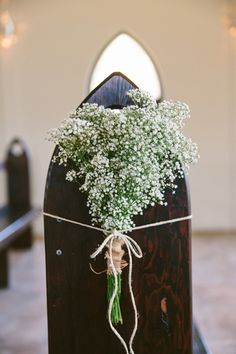 Baby's breath pew ends. Image: Cavanagh Photography http://cavanaghphotography.com.au Hunter Valley Wedding, Pew Ends, Baby's Breath, Wedding Ceremony