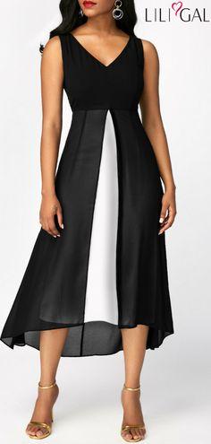 Sleeveless Chiffon Panel V Neck Black Dress   #liligal #dresses #womenswear #womensfashion