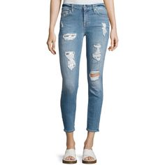 7 For All Mankind Destroyed Sequin Skinny Ankle Jeans ($249) ❤ liked on Polyvore featuring jeans, indigo, mid rise skinny jeans, cropped skinny jeans, super skinny ripped jeans, patchwork skinny jeans and blue skinny jeans
