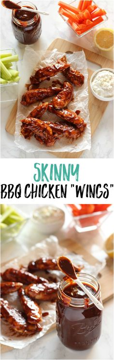 "Save on calories and keep all the flavor with these skinny BBQ ""Wings"" -- perfect for parties and cookouts!"