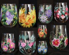 Hand Painted WIne Glasses Great for Mother Day by Brusheswithaview, $15.00