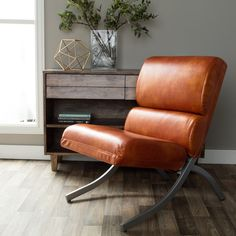 """$169.99 - Overall: 40.75""""H x 23.75""""W x 29.5""""D - Seat Dim: 19""""H x 23.5""""W x 18""""D - Rialto Rust Faux Leather Chair"""