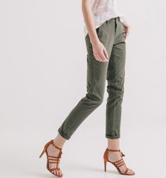 Canvas trousers khaki - Promod