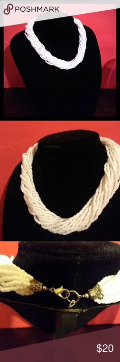 Micro-Seed-Bead Multi-Strand Necklace Pure white multi-strand {glass}micro seed-bead necklace in Excellent Condition! Feel free to ask any questions Hand-Crafted Jewelry Necklaces
