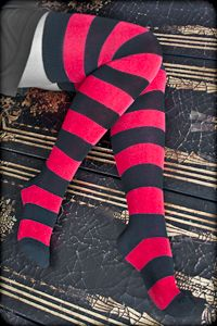 Extraordinary Striped Thigh Highs - If you've been dreaming of stripey thigh high socks that fit beautifully, then look no further!  These are almost magical, with their wide stripes in gorgeous colors; not to mention their great fit on legs of all sizes, short and slender to tall and curvy, as well as everything in between.  They're exclusive to Sock Dreams, and you won't find the likes of them anywhere else!  Made in the USA.