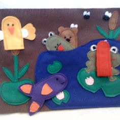 Felt quiet page - pond with finger puppets