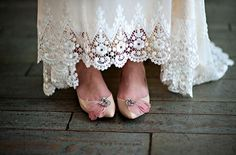 Vintage wedding shoes x Claire Pettibone'Kristene' wedding gown http://couture.clairepettibone.com/collections/continuing-collection/products/kristene