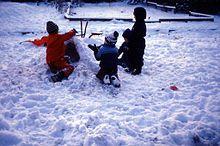 کودکان در حال ساختن آدم برفی