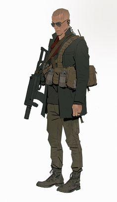 Bounty Hunter cover design by Richard Lyons on ArtStation. Fantasy Character Design, Character Design Inspiration, Character Concept, Character Art, Concept Art, Apocalypse Character, Military Drawings, Cyberpunk Art, Cyberpunk 2020