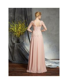 A-Line High Neck Floor-length Chiffon Mother of the Bride dresses With Lace