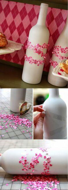 Artesanato com Reciclagem: Reciclagem de garrafas de vinho para dia dos namorados