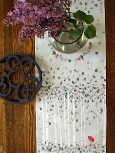 Red Umbrella Birch Tree Linen Table Runner in Shades of Gray