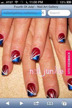 Holiday Nail Designs, Holiday Nail Art, Fingernail Designs, Nail Art Designs, Fancy Nails, Pretty Nails, Nice Nails, Do It Yourself Nails, Firework Nails