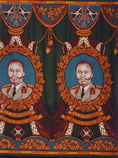 Michel Micombero (1940-1983), President of Burundi from 1966-76. Cloth dates from circa 1970