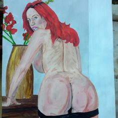Jolies fesses A3 #acrylic #painting #art #artist  #fineart  #eroticart #sexy #drawing #erotic #nude #portrait #femalenude #naked #nudeart #butt #redhead