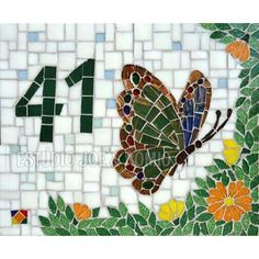 Nice house number with butterfly and flowers Mosaic Pots, Mosaic Diy, Mosaic Crafts, Mosaic Projects, Mosaic Glass, Mosaic Tiles, Mosaics, Stained Glass, Mosaic Mirrors