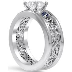 Engagement Ring -Three Stone Diamond-Sapphire Eternity Filigree... (2 185 AUD) ❤ liked on Polyvore featuring jewelry, rings, round cut engagement rings, three stone engagement ring, diamond rings, 3 stone engagement rings and 3 stone anniversary ring