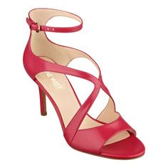 """Gerbera's peep toe ankle strap pumps are set on perfectly poised 3"""" mid heels for a """"look at me"""" finish for an evening out. Adjustable ankle strap closure. Padded footbed for all-day comfort. Leather upper. Man-made lining and sole. Imported."""