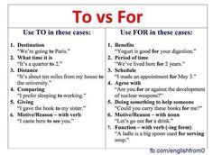 To vs For   #English #Grammar #Vocabulary #English101 myenglishteacher.eu