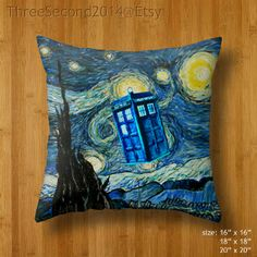 "Decorative cushion Cool Flying Police phone box Double Side Pillow Case cover 16"" 18"" 20"" by ThreeSecond2014 on Etsy, $18.89"