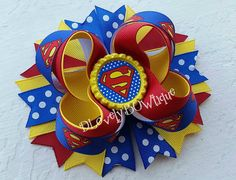Superman Boutique Stacked Hair Bow Supergirl by DLovelyBOWtique