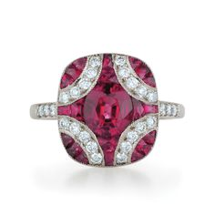 Large argyle ruby and diamond ring from the Kwiat Vintage Collection in 18K white gold
