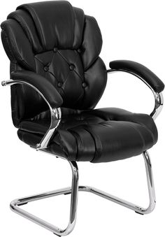 Flash Furniture Black Leather Button Tufted Transitional Side Reception Chair with Sled Base Transitional Chairs, Chairs For Bedroom Teen, Modern Desk Chair, Conference Room Chairs, Office Chair Without Wheels, Ikea Chair, Ergonomic Chair, Leather Furniture, Office Furniture