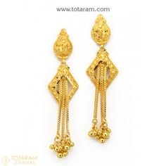 Buy Gold and Diamond Jewelry gifts Online that are made in India and ship from Totaram Jewelers Online in New Jersey USA Gold Jhumka Earrings, Indian Jewelry Earrings, Real Gold Jewelry, Gold Drop Earrings, Gold Earrings For Women, Gold Earrings Designs, Indian Gold Jewellery Design, Jewelry Design, Jewelry Collection