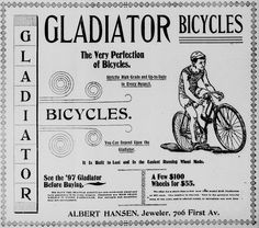 Ad for Gladiator Bicycles from the April 18, 1897 Seattle Post-Intelligencer.