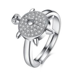 Sale 24% (6.99$) - INALIS Lovely Turtle Zircon Platinum Opening Gift Party Wedding Finger Rings