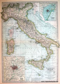 The Century Atlas Italy Map Reproduction
