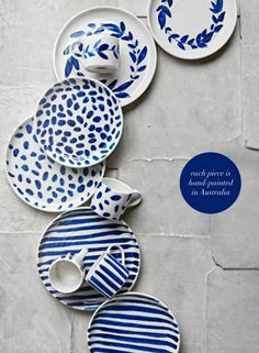 Stunning handmade pottery by Robert Gordon in bright happy blues