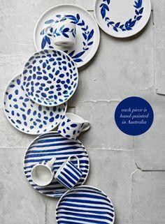 Stunning handmade pottery by Robert Gordon in bright happy blues