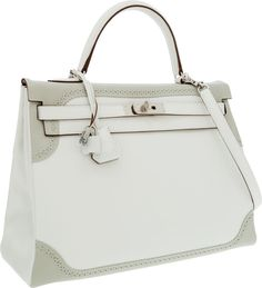Hermes Limited Edition 35cm White & Gris Perle Swift Leather Retourne Ghillies Kelly Bag with Palladium Hardware