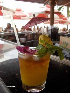Traditional Mai Tai Served at the Mai Tai Bar at the Royal Hawaiian Hotel in Waikiki, Hawaii