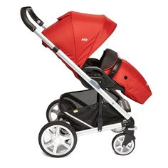 Joie Chrome Plus Pushchair Silver Chassis and Colour Pack with Cupholder - Tomato Red