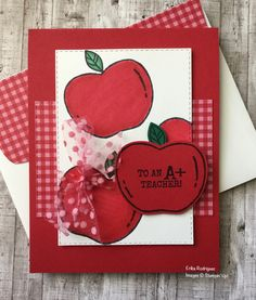 Harvest Hellos Stampin Up stamp set. Teacher's Day thank you card, real red Cardstock and ink. Up Teacher, Teacher Thank You Cards, Teacher Appreciation Gifts, Teacher Gifts, Fall Cards, Christmas Cards, Apple Crafts, Stampinup, Christmas Catalogs