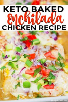 Easy Baked Enchilada Chicken - boneless skinless chicken breasts, canned green chili enchilada sauce, chili powder, garlic salt, shredded Monterey Jack cheese Bariatric Recipes, Ketogenic Recipes, Low Carb Recipes, Healthy Recipes, Green Enchilada Sauce, Enchilada Bake, Easy Dinner Recipes, Easy Meals, Chicken Eating