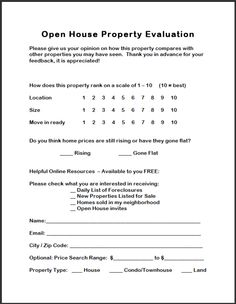 Real Estate Forms Open House Feedback Form Open House Sign In